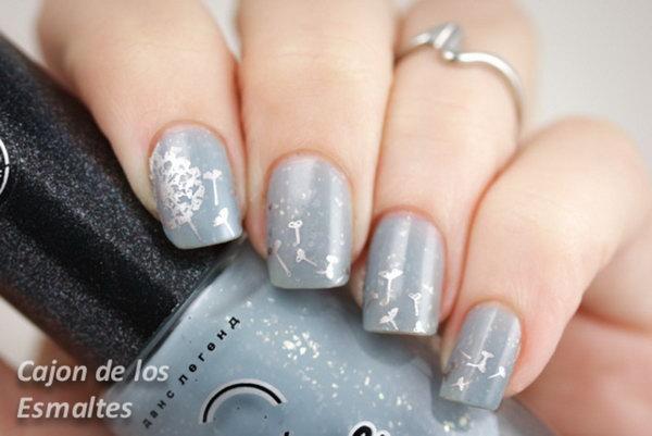 Silver Dandelion Nail Design.