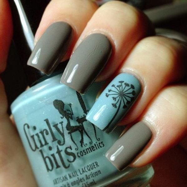 Deep Grey and Blue Dandelion Nails.