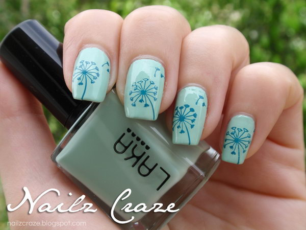 Turquoise Hued Dandelion Nails.