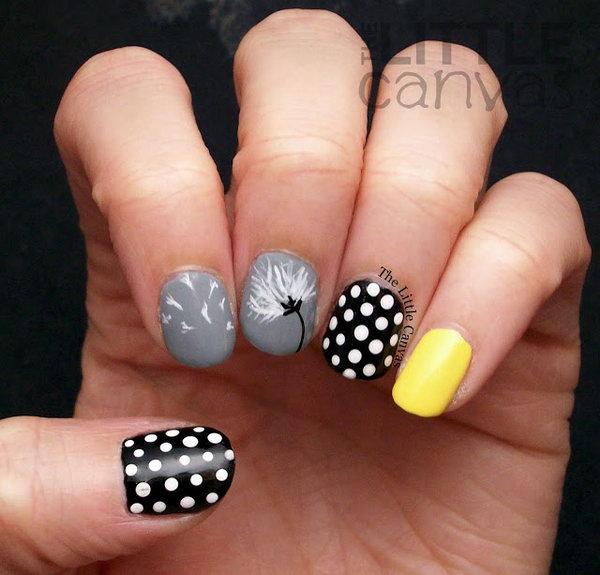 Dandelion and Polka Dots Nail Art. See the tutorial