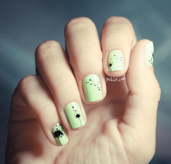Mint Green and Black Dandelion Nail Art.