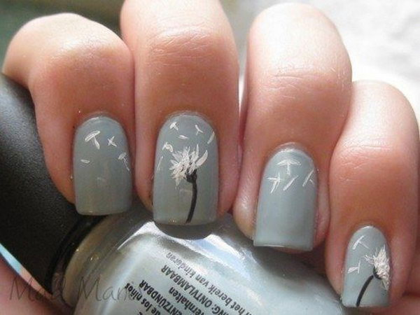 Blue Gray Nails with Dandelions.
