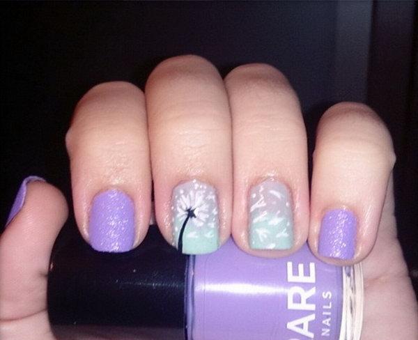 Purple and Mint Green Dandelion Nail Art.