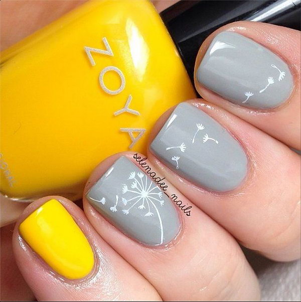 Gray and Yellow Dandelion Nails.