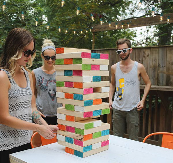 Giant Colorblocked Jenga. Check out the details