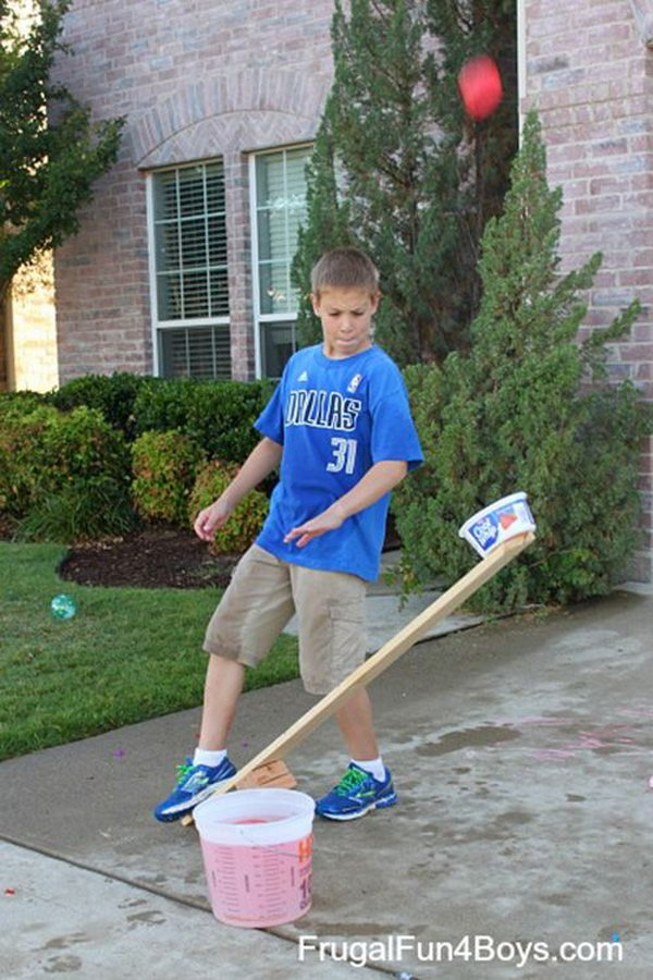 Wood Catapults Water Balloon Launcher. See the instructions