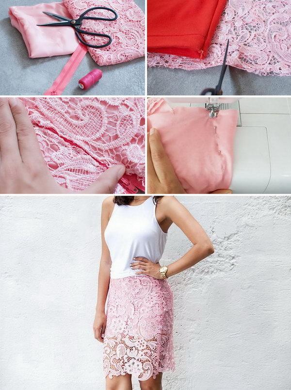 DIY Lace Pencil Skirt. Get the tutorial
