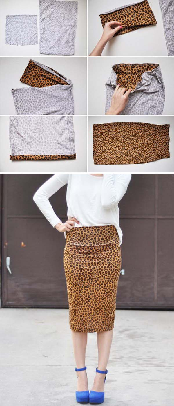 DIY Stretchy Pencil Skirt. See the full directions