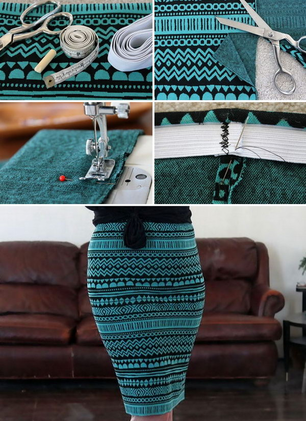 DIY Stretch Knit Pencil Skirt. See the full tutorial