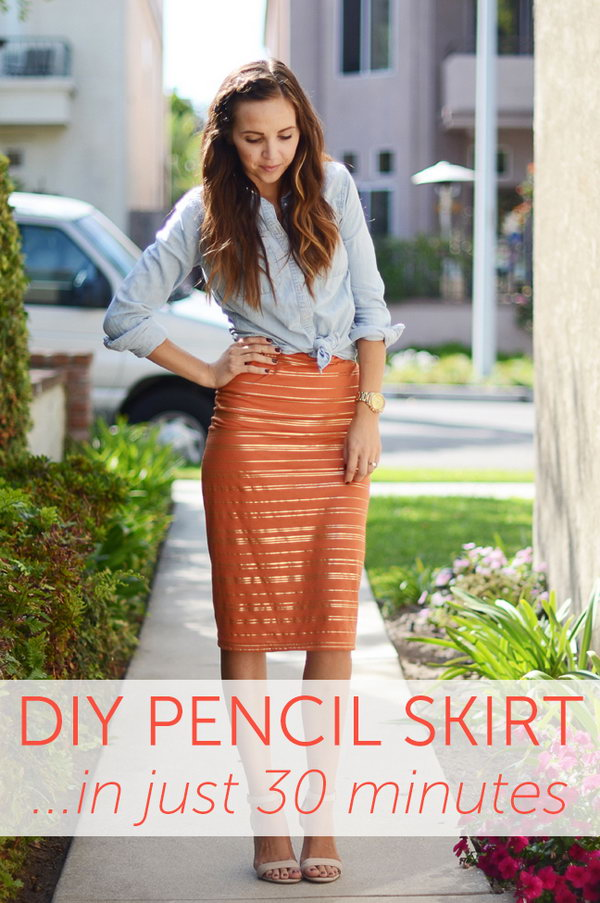 DIY Pencil Skirt In Just 30 Minutes. Get the tutorial