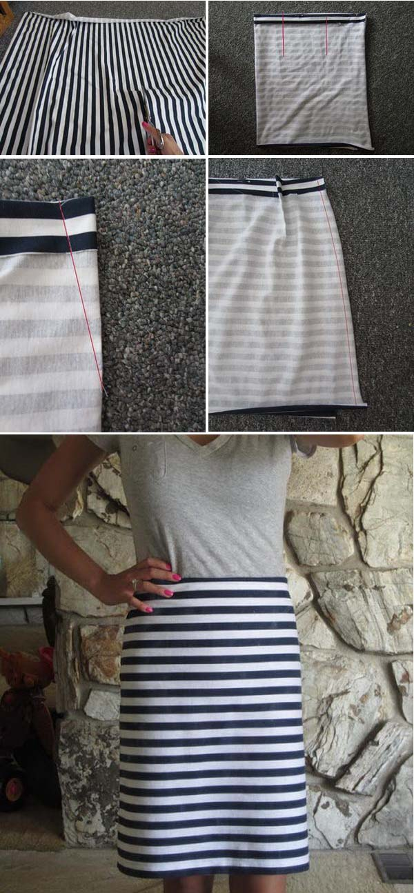 Navy Blue and White Stripped Pencil Skirt. See the tutorial