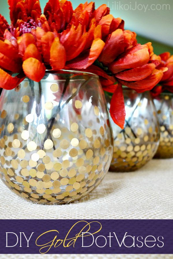 DIY Gold Dot Vases for Displaying Fall Flowers .