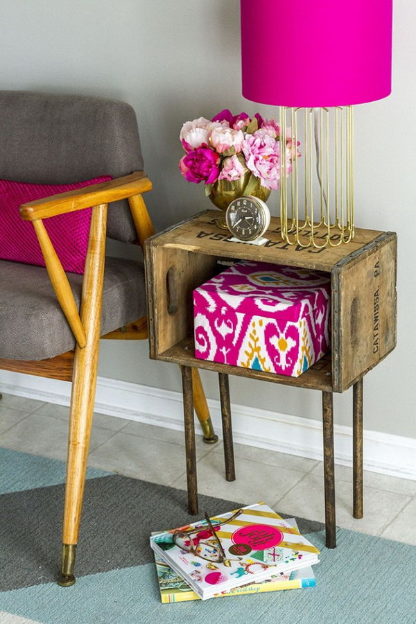 Wooden Crate Side Table. See the full tutorial