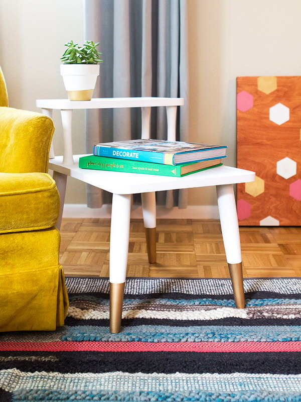 DIY Gold Dipped Side Table. Get the steps