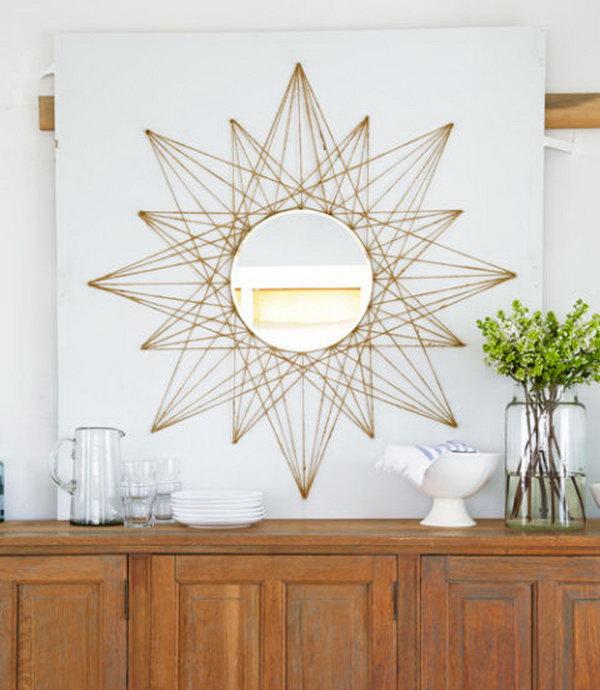Sunburst Mirror String Art. See the tutorial