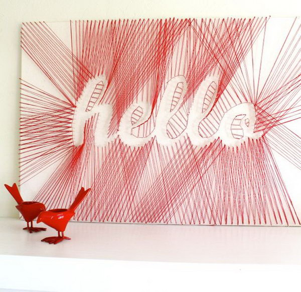 """DIY """"Hello"""" String Art. See how to make it"""