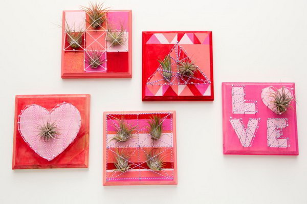 Valentine Air Plant String Art. Check out how to make it