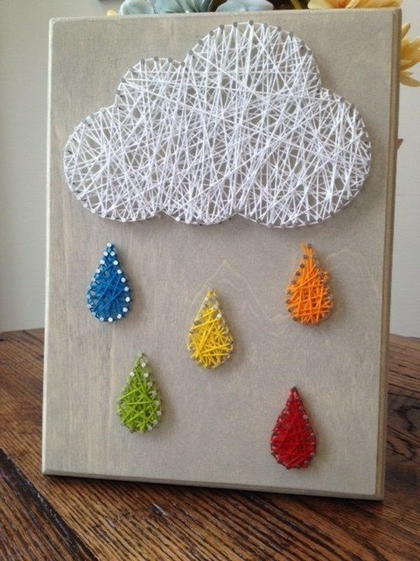 Rain Cloud Nail and String Art.