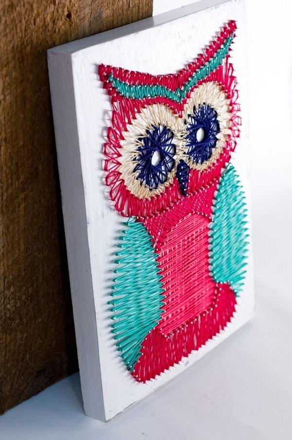 DIY Owl String Art.