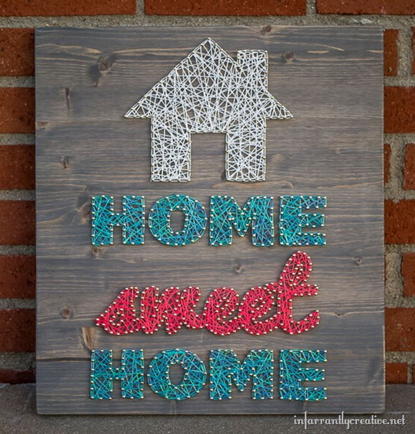 Home Sweet Home String Art. See the tutorial