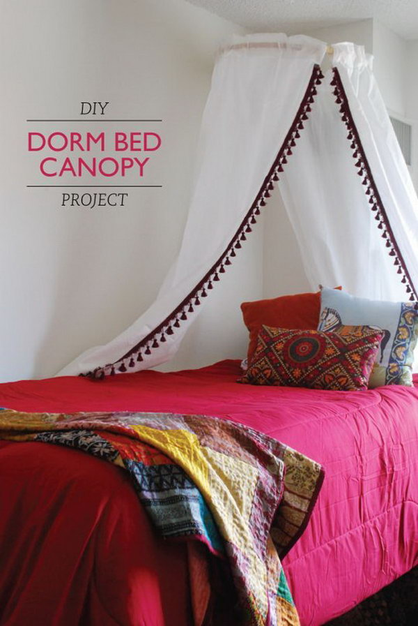 DIY Dorm Bed Canopy Project. See the full tutorial