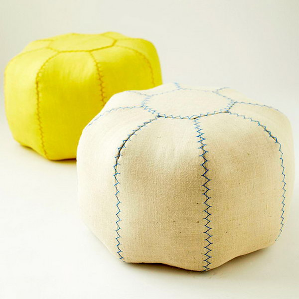 DIY Dorm Room Pouf. Get more details