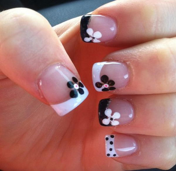 Black and White Flower French Nails.