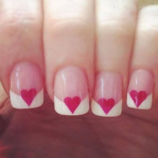 Pink Heart Shapped French Manicure.