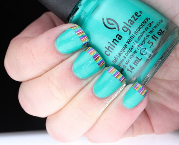 Rainbow Bar Glitter French Tips on Turquoise. Get the tutorial
