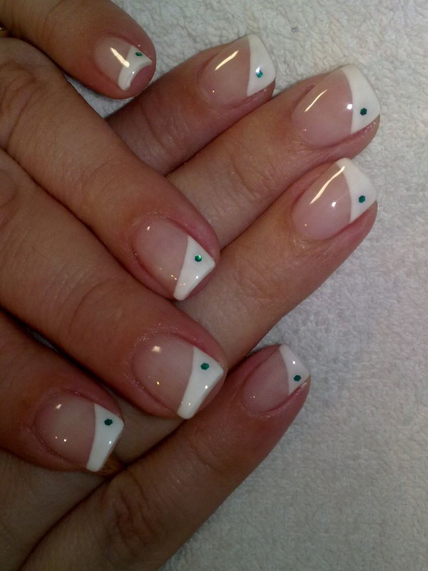 Half White Tips with a Dot Manicure.