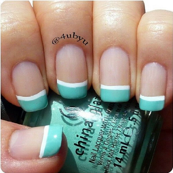 Turquoise French Tip Nails.