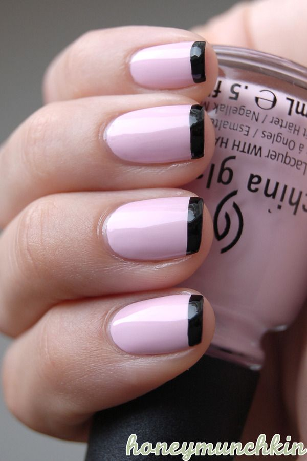 Black and Pink French Nail.