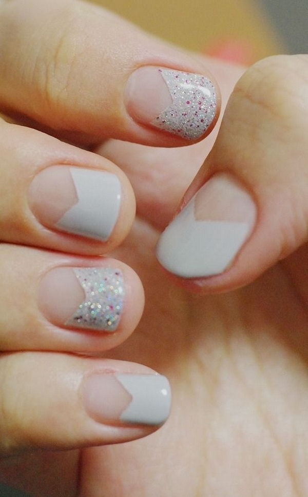 Pointed French Nail With Glitters.