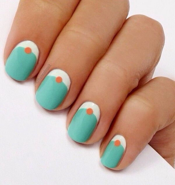 Simple Half Moon Mani with Added Dotting.