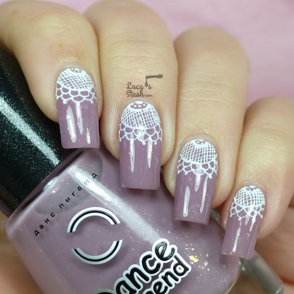 Lace Half Moon Nail Art with Tutorial. Check out