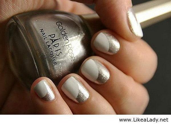 Silver Half Moon Nail Designs.