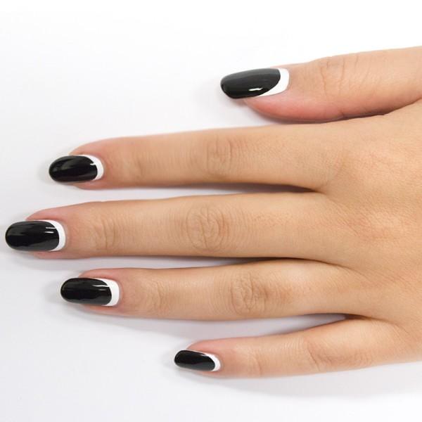 Black and White Half Moon Nails.