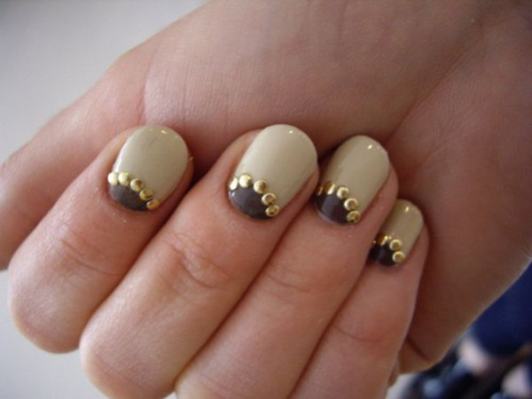 Metallic Studded Half Moon Nails.