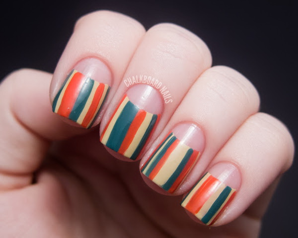 Strip Design Half Moon Nails. Get the tutorial
