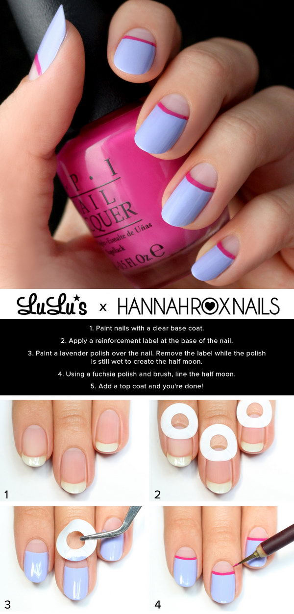Lavender and Fuchsia Half Moon Nail Tutorial. See more directions