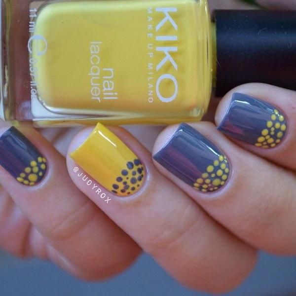 Polka Dots Half Moon Nails.