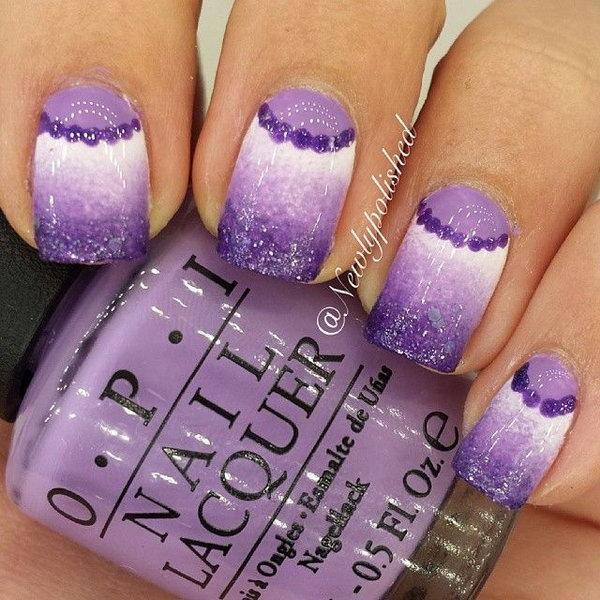 Purple and White Half Moon Nails.