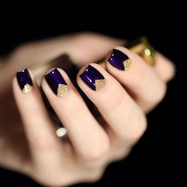 Dark Purple with Gold Triangles Nails.
