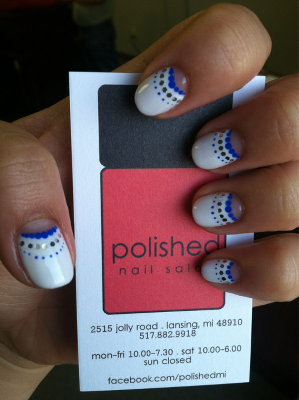 Blue, White and Glitter Half Moon Nails with Polka Dots.