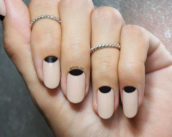 Nude ish and Black Half Moon Nails.