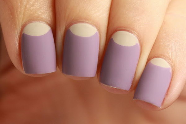 Lilac Base and Beige Half Moon Nail Design.