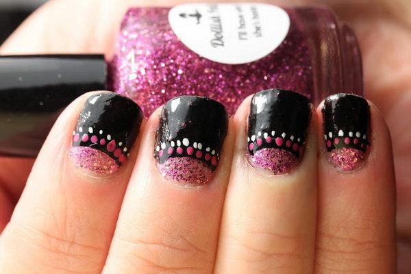 Pink and White Dots Half Moon Nails.