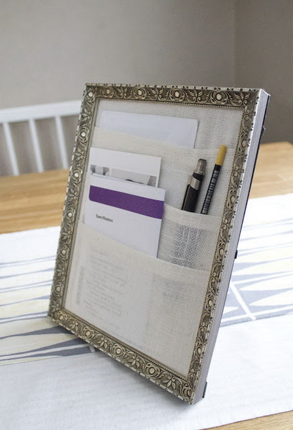 Framed Table Organizer. An ideal way to store your reminding notes. It can be hung on the wall to save the desk space. Learn how to make it