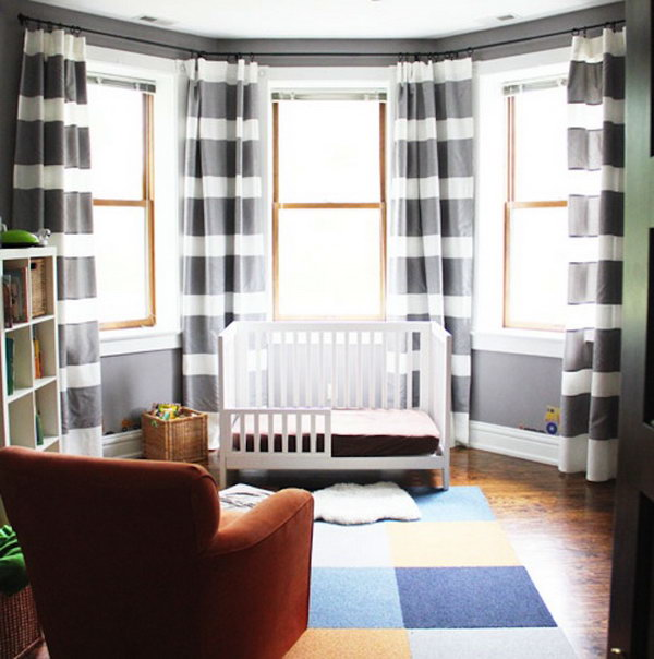Horizontal Striped Curtains. Get the tutorial