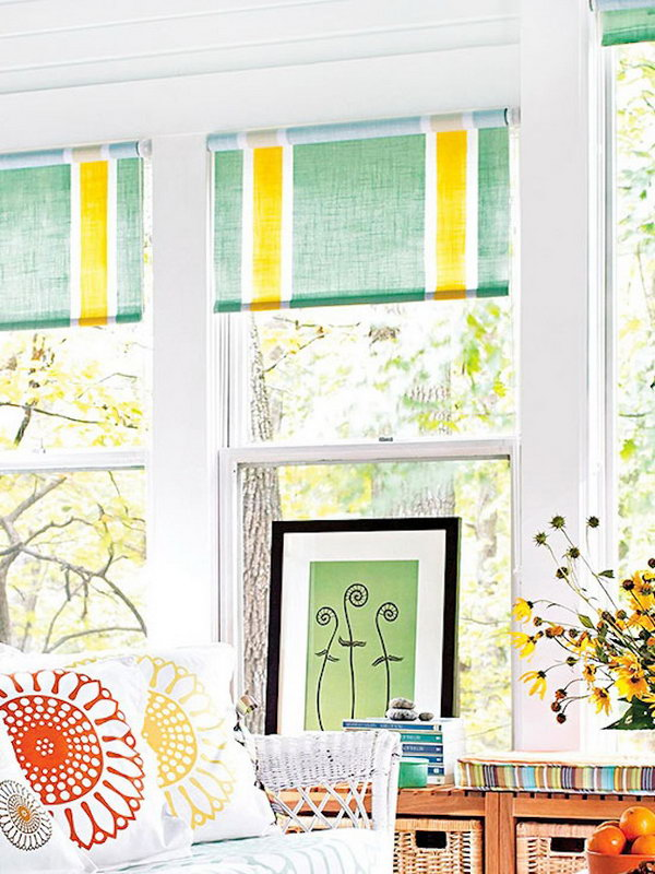 Painted IKEA Roller Shades. See more details